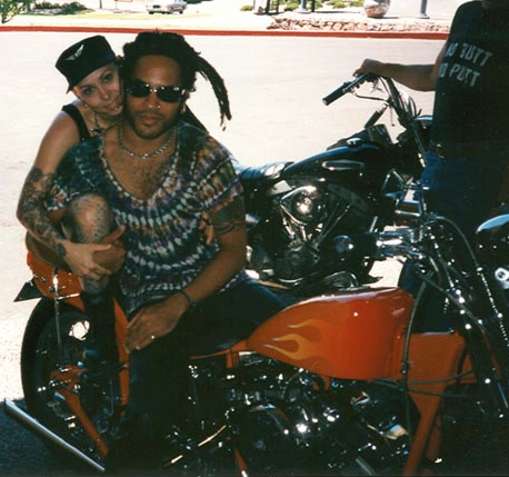 Lenny Kravitz and I on his motorcycle in New Mexico circa 1996