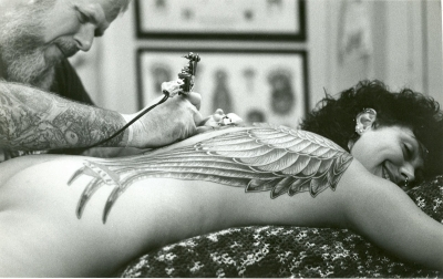 Bob Roberts tattooing my angel wings 1980s