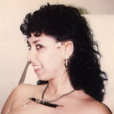 My forward helix (ear cartilage) piercing in progress, 1980s