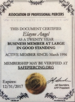 My Association of Professional Piercers (APP) Membership certificate
