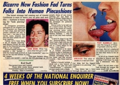 Article about piercing, with my photo, in the National Enquirer 1990