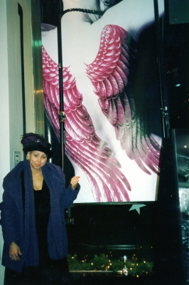 Me (quite shocked) with my very large photo in the window of HMV record store in NYC