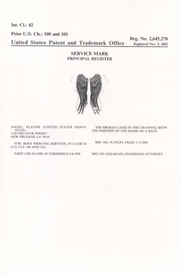 The Registration (Service Mark) granted by the US Patent and Trademark Office on my angel wings tattoo