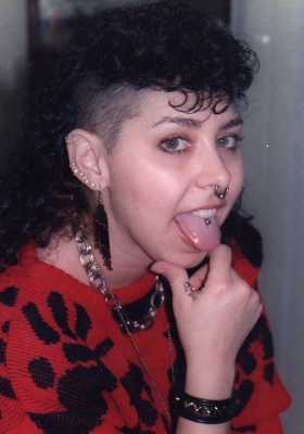 Old photo with my hand web piercing 1980s