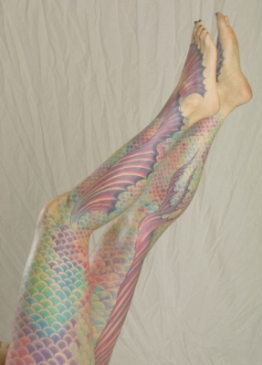 My colorful mermaid tail tattoo (scales and fins) by Juli Moon