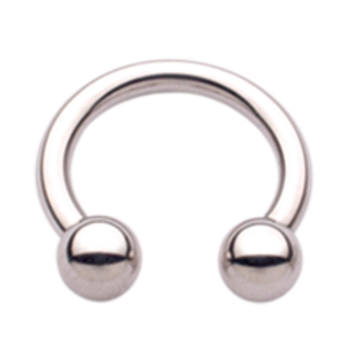 A circular barbell (ring with two balls and a gap between them) is another alternative style option for initial jewelry in male nipple piercings